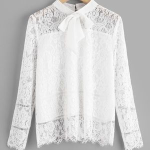 Tops - Lace top with bow neck